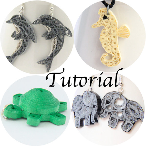 paper quilled jewelry animals