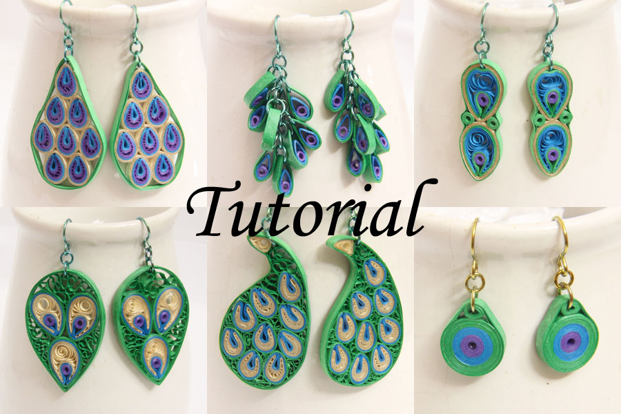 Quilling Earrings Basic Designs : Peacock Design Paper Quilled Earrings Tutorial - Honey s Quilling