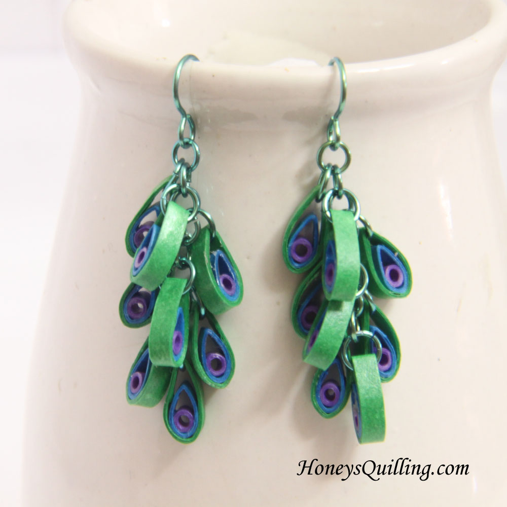 Quilling Earrings Designs Images : Peacock Design Paper Quilled Earrings Tutorial Honey s Quilling