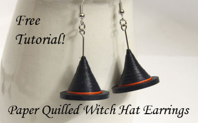 Make Your Own Halloween Witch Hat Earrings – Free Paper Quilling Tutorial