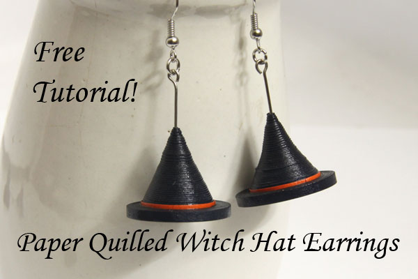 Make your own halloween witch hat earrings free paper for How to make your own quilling paper
