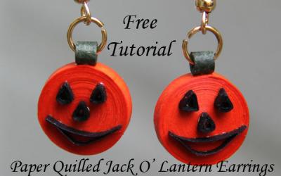 Jack O' Lantern Earrings – Free Tutorial for Paper Quilled Halloween Earrings