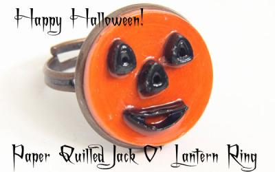 Halloween Jack O' Lantern Ring – Modern Paper Quilled Jewelry – Free Pattern