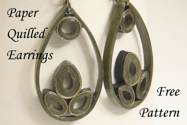 How to make paper quilled teardrop earrings - a free pattern from Honey's Quilling